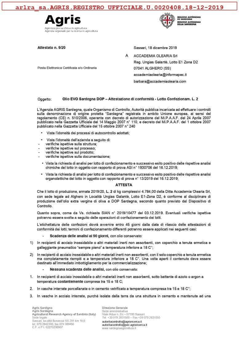 ulei de masline extravirgin 750ml accademia olearia sardegna dop